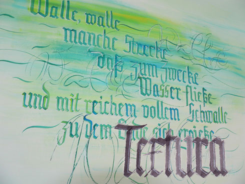 Kalligrafie Wasser Textura Goethe Zauberlehrling
