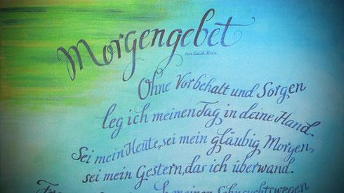 Italic - immer wieder gern genommen. Hier Edith Stein, Morgengebet, Acryl auf Leinwand.