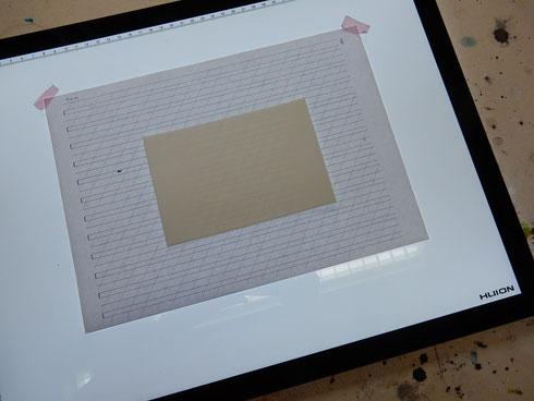 Aquarellkarton 300g/m2: immer noch scheinen die Linien einwandfrei durch