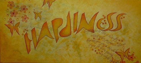 Kalligrafie Schriftkunst Spitzfeder auf Leinwand Gedicht auf Leinwand