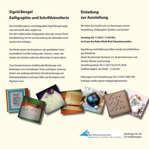 Kalligraphieausstellung südlich von Stuttgart, direkt an der B27
