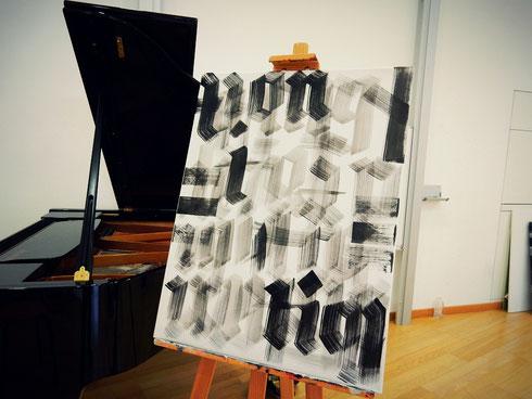 """Gewünscht war """"traditionelle Kalligraphie"""" - hier die Textura neu interpretiert..."""