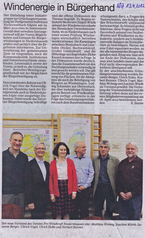 Gründungsversammlung Pro Windkraft Niedernhausen