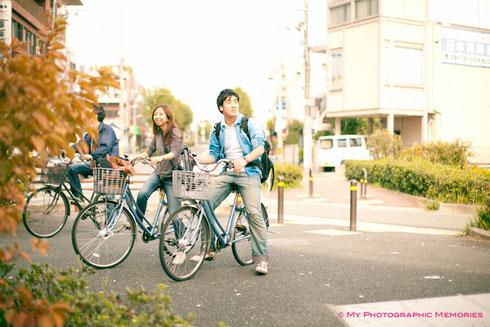 阪急岡町駅から自転車で現地に向かいます☆