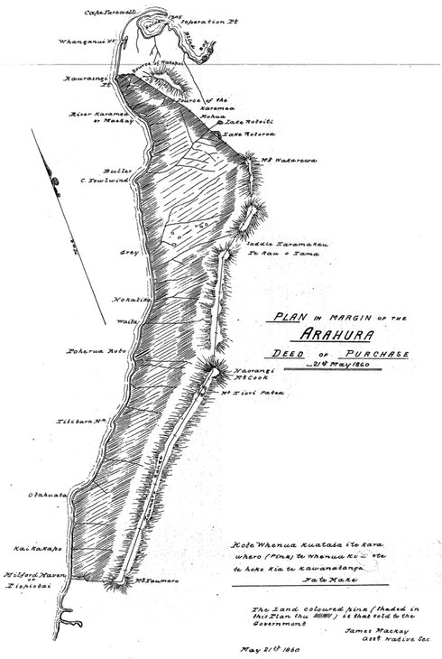 The diagram accompanying the Aruhara Deed of Purchase that shows the land purchased by The Crown stretching from Milford Sound to nearly the top of the South Island for £300 (2005 value £12,948) (clic