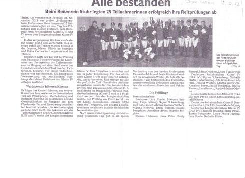 Prüfungstag Abzeichen 24.11.13 Artikel Weser-Kurier
