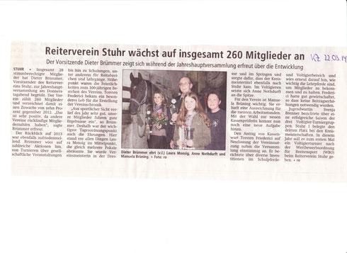 Mitgliederversammlung 20.03.2014 Artikel Kreiszeitung