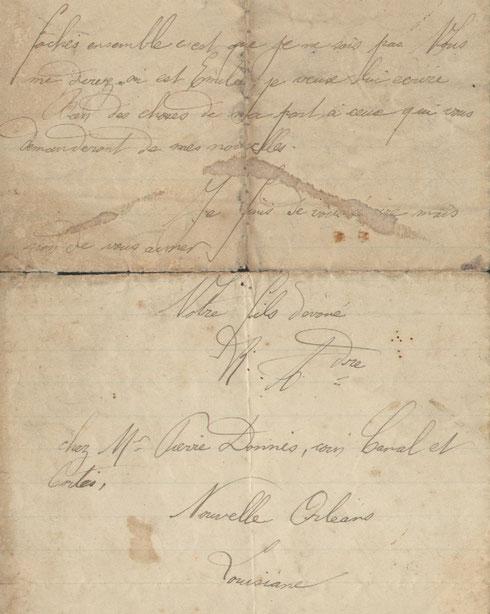 Extraits de la lettre d'Alexandre RENAULT à ses parents écrite à La Nouvelle Orléans, en date du 13 décembre 1887