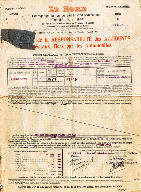 Police d'assurance de la Citroën C4 de Jean Baptiste RENAULT