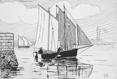 Port de Brest (encre de Chine)