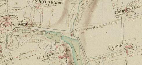 Plan-terrier du duché de Penthièvre, années 1785-1789, extrait La Malhoure (cliquer pour agrandir)