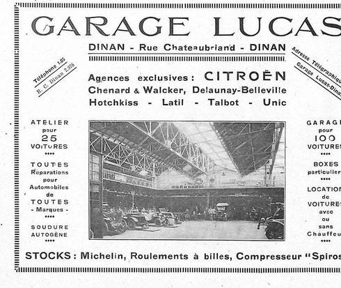 Publicité de 1926 du garage Lucas