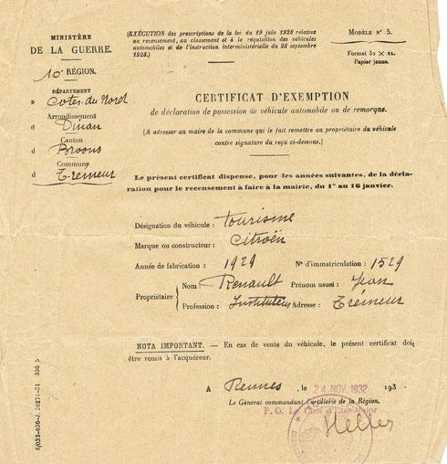 Certificat d'exemption de déclaration annuelle.