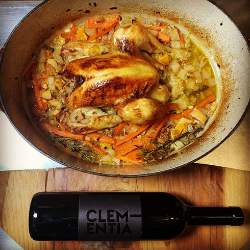 Vin blanc d'artisan Clementia, poulet braisé, Le Creuset, Baumalu, Staub