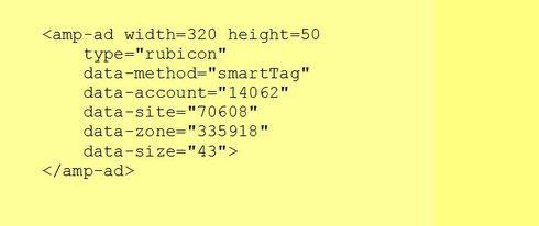 Пример объявления для AMP-страниц на SSP-платформе Rubicon