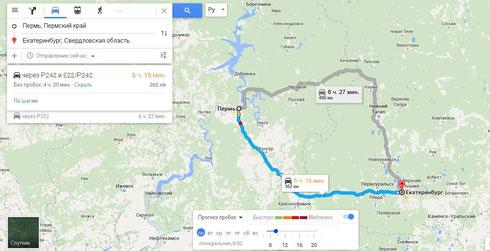 Google Карты 2015. Дорожные пробки Пермь - Екатеринбург