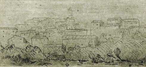 Veduta di Caldana, stampa di Paolo Cimoni