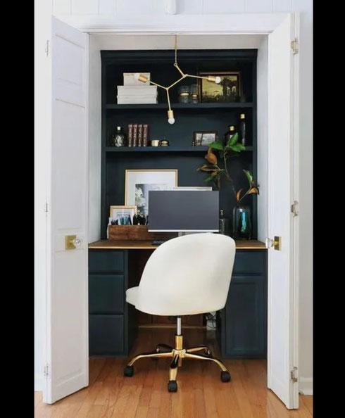 décoration bureau, bureau dans petit espace, inspiration bureau, bureau dans placard