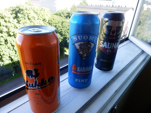 こちらは、フィンランド国産ビール クッカ、スオミ、そしてお気に入りの目つきの悪いクマのビール
