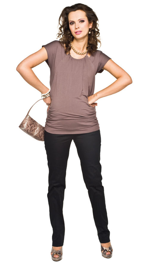 brown short sleeve maternity top
