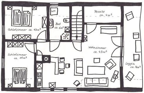 Wohnungsgrundriss mit Möbelausrichtung