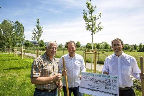 Mainrad Gfall, Leiter der Stadtgärtnerei, Christoph Preis vom Architekturbüro Preis und Stephan Kraus, Vorstand der VR-Stiftung der BodenseeBank, freue sich über die neuen Bäume, die mithilfe von Spendengeld gepflanzt werden konnten. (FOTO:Ch.Flemming)