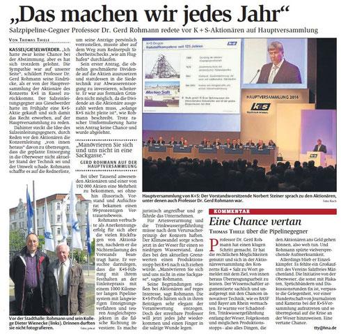 HNA-Artikel vom 17. Mai 2014