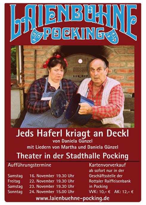 Flyer zum Theater Jeds Haferl kriagt an deckl