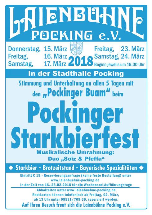 Plakat Starkbierfest in Pocking 2018