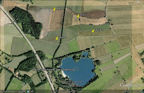 Die vier vorgesehenen Standorte für Windräder, links die BAB A 29