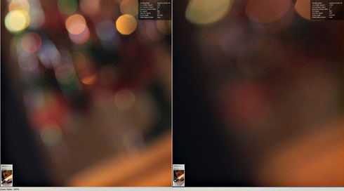 Угол кадра при 100% увеличении. Слева f/2.8, справа - f/1.4