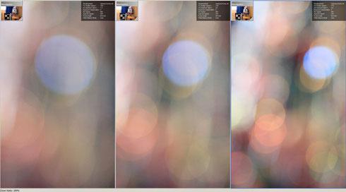 Кружки в зоне нерезкости, увеличение 100%. Слева направо - f/1.4, f/2.0, f/2.8