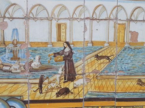 Un particolare del bellissimo chiostro settecentesco del monastero di santa Chiara a Napoli...da aspirante gattara, pubblico la foto di una suorina che dispensa cibo ai gatti napoletani.  Distanza Roma-Napoli 225 km.