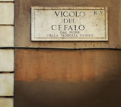 No, i pesci non c'entrano...vicolo del Cefalo, tra via Giulia e il Tevere, deve il suo nome alla famiglia dei Ceoli, o Cevoli, che un tempo abitava da queste parti