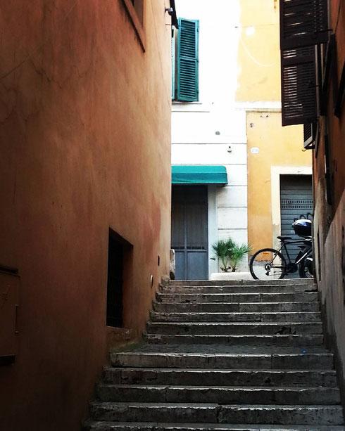 Il fascino delle stradine di Trastevere...qui siamo in vicolo di sant'Onofrio.