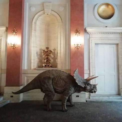 Lo avevo visto una volta passando di corsa ma, non potendomi fermare, avevo pensato semplicemente di aver avuto le traveggole. Ci sono passata di nuovo davanti con molta più calma e, a sangue freddo, ho constatato che all'ingresso del St. Regis c'è davvero un triceratopo (e anche un rinoceronte se è per questo). Ospiti dell'albergo? Quasi: i due sono parte di un'installazione di arte contemporanea, realizzati - in vetroresina - dal duo di artisti cinesi Sun Yuan & Peng Yu