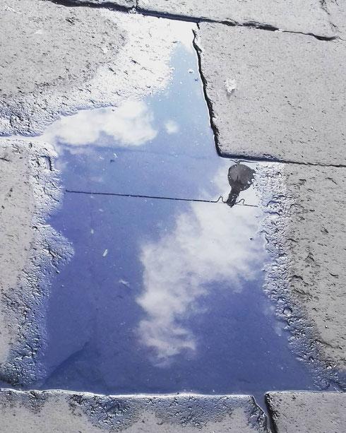 Nelle pozzanghere di piazza Venezia si specchia un timido cielo azzurro...durerà?