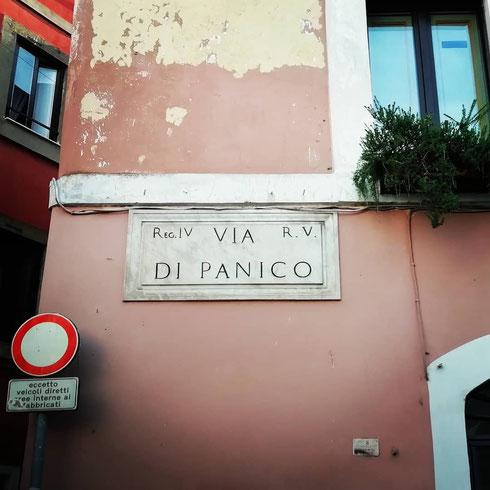 No panic...via di Panico, che forma assieme a via Paola e a via del Banco di Santo Spirito uno dei tridenti della città, deve il suo nome ad una non meglio nota famiglia Panico, qui attestata nel Quattrocento
