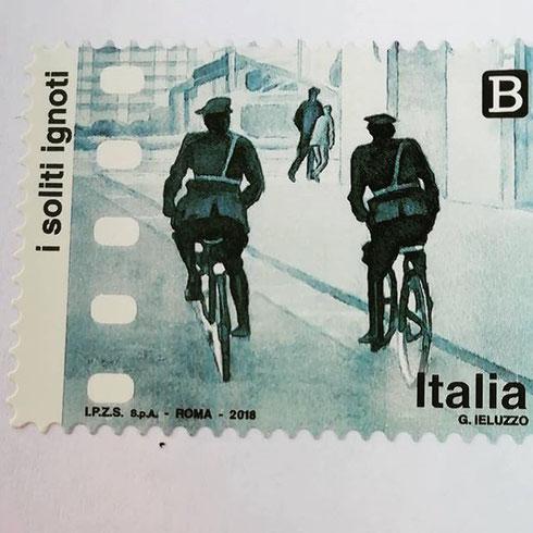 Riconoscete l'immagine del francobollo? Nell'ultima scena de I soliti ignoti Capannelle e Peppe svoltano l'angolo seguiti da due poliziotti in bicicletta. Siamo tra via val Policella e via Campi Flegrei, a Montesacro
