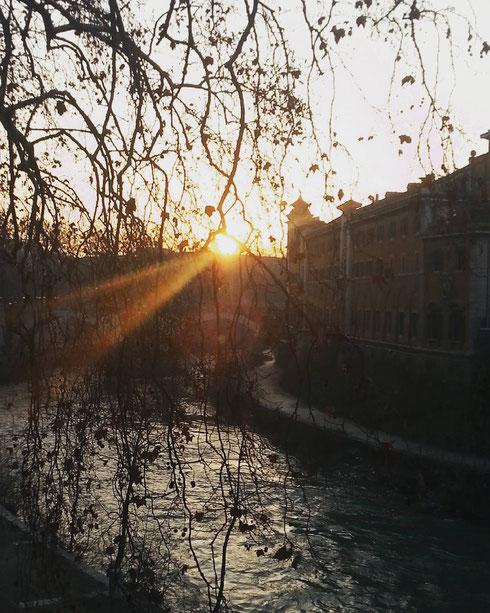 ...poi ci sono quelle mattine quasi magiche in cui il sole che si nasconde dietro l'isola Tiberina ti ruba un sorriso...