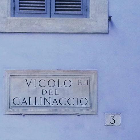 Ho cercato e ricercato, ma di galline brutte e cattive in vicolo del Gallinaccio non c'è nemmeno l'ombra...