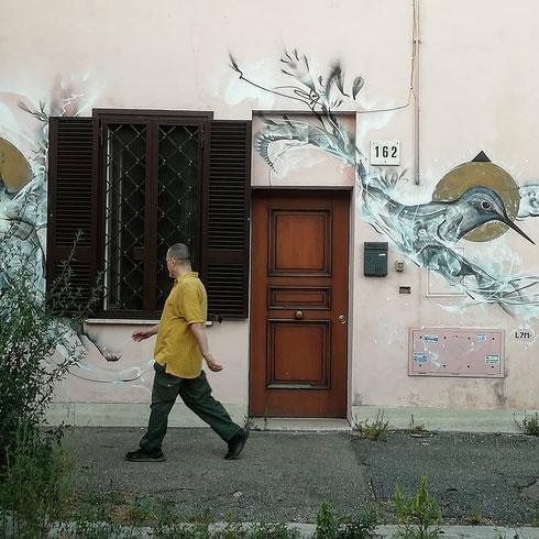 Il colibrì. Non è il premio Strega, ma il soggetto che l'artista brasiliano L7m ha scelto per questa casa di via dei Quintili