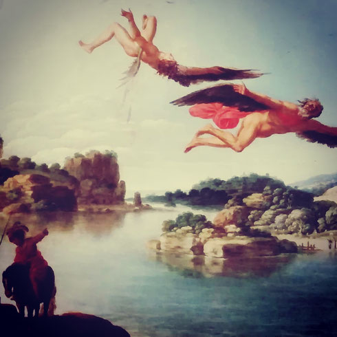 Nei piccoli oli su rame esposti alle Scuderie del Quirinale, Carlo Saraceni racconta la storia di Dedalo e Icaro, tra i miti più amati tra quelli raccontati da Ovidio