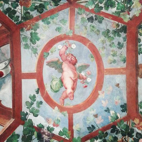 ...ma la cosa che preferisco di palazzo Altemps è la loggia affrescata che guarda verso il cortile interno, un vero e proprio giardino di delizie zeppo di fiori, passerotti e puttini che svolazzano qua e là