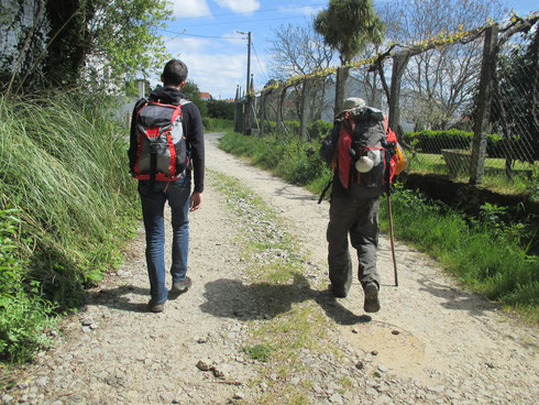 Père et fils cheminent côte à côte