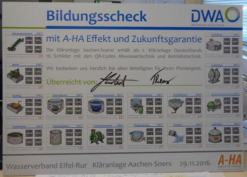 Bildungsscheck mit einer Übersicht der 16 Schilder der QR-Codes Abwassertechnik