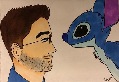 Nadjas Gemälde als Geschenk zu meinem Geburtstag - Stitch und ich