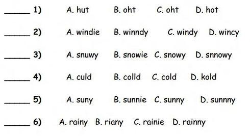 Задания на написание слов о погоде