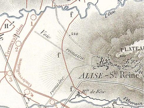 Matérialisation du fossé de 20 pieds en f. Planche 23 de l'Atlas de Napoléon III.