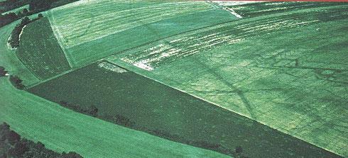 Castellum 18 (à gauche) et fossé de circonvallation sur la montagne de Bussy.  Crédit: Aerophotothèque© R. Goguey. Musée Alésia, conseil général de la côte-d'Or.